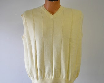 vintage 1970s preppy yellow Cotton Traders  sweater vest--size Large