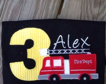 Personalized Embroidered/Appliquéd Firetruck Birthday Shirt