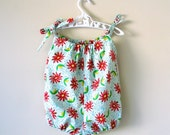 Baby girl romper red daisy retro style bubble romper playsuit