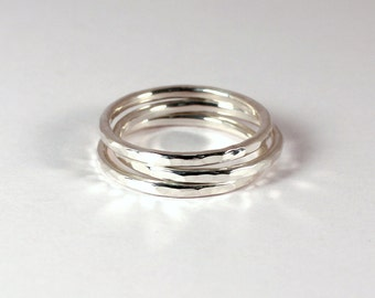3 Hammered Silver Stacking Rings, Sterling Silver, Made to Order