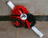 Atlanta Falcons Shabby Chiffon Black & Red Flower Headband Or Hair Clip Photo Prop Bow Newborn Girls Baby Felt Rose HEART