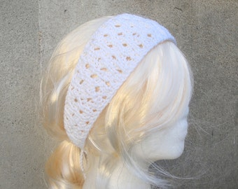 White Lace Headband, Tie Back, Hand Knit Organic Cotton, Gift for Her under 25