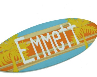 Surfboard Wall Art, 18 inch Custom Beach Signs, Baby Shower Decor, Decorative Surf Board, Boys Room Wall Decor,  Boys Bedroom Art, Surf Boy