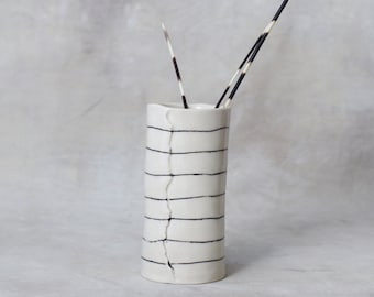 Tall Striped Porcelain Vase Made to Order