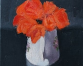 Orange Roses in white jug, still life painting, oil paint on canvas, 10x10 inch art, Canadian Art