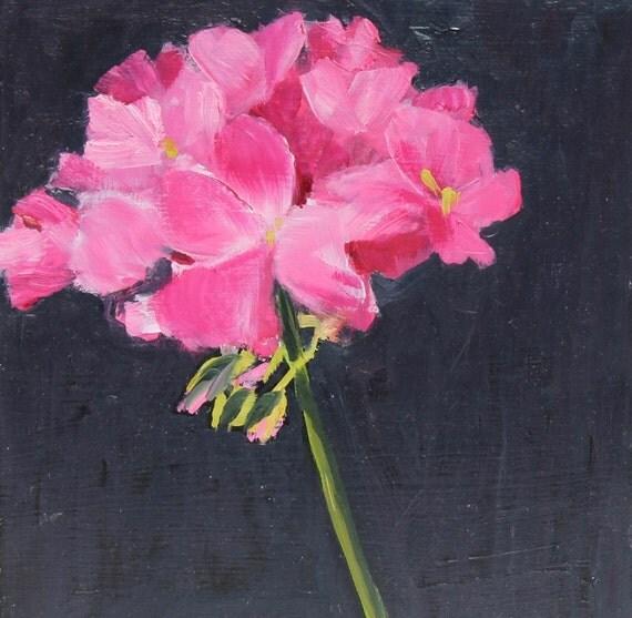 Still Life Flower Painting Pink Geranium small Original Oil  on wood