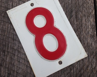 Vintage Embossed Metal number 8 -  red gas station number - vintage house number - stamped steel number - industrial metal number