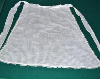 Vintage linen Off White apron, 1940,antique,half apron, vintage apron