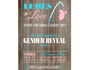 Lures or Lace Gender Reveal Party  Invitation,  Boy or Girl, Blue or Pink, He or She, printable invitation
