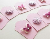 Small Gift Tags - Pink Gift Tags - Butterfly Tags - Flower Tags