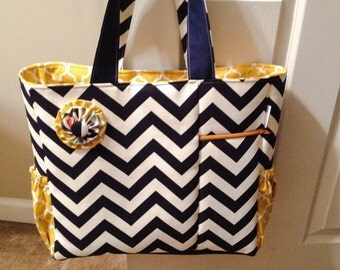 Navy chevron with yellow accents diaper bag