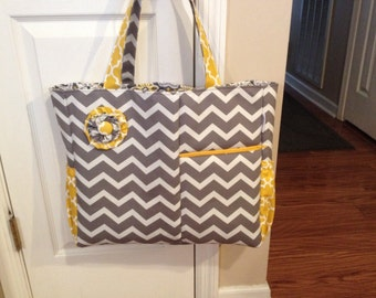 Grey and white chevron diaper bag