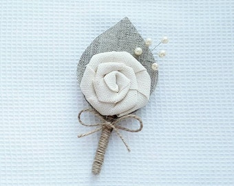 Ivory Flower burlap Boutonniere - Groom boutonniere
