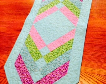 Quilted Table Runner Spring Easter Colors Aqua