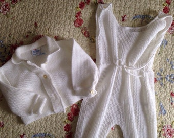 Vintage White Baby Layette Set Romper and Button Up Shirt Size 6 to 9 Months