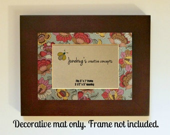 Home Decor Photo Mat fits 5x7 or 8x10 Frame Vintage Floral