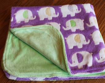 Baby Blanket Minky- Purple Elephants with Pastel ears- Mint Backing- Handmade