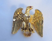 Eagle Americana Gold Tone Brooch Vintage 1950s