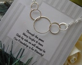Sterling Silver Eternity Necklace, Gifts for Best Friends,Five Intertwined Eternity Rings,Double Strand Necklace,Friendship Card