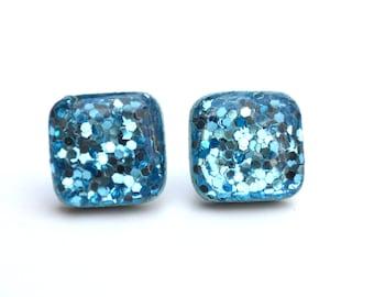 Aquamarine glitter square studs boxed glitter stud earrings blue stud earrings square sparkle studs post earrings square sparkle studs
