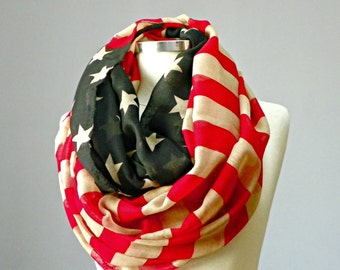 SALE, Scarf, US flag scarf, infinity scarf, American flag scarf, vintage us flag scarf, cowl scarf, circle scarf, chunky scarf