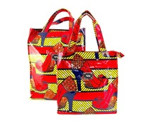 African Print Ankara ToTe Bag Made in African Print Shiny Oil Cloth Ankara Wax Print Fabric by Tote London-  in Gorgeous Red Shoe Wax Print