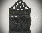 3-Day SALE Vintage Hanging Cast Iron Matchstick Holder