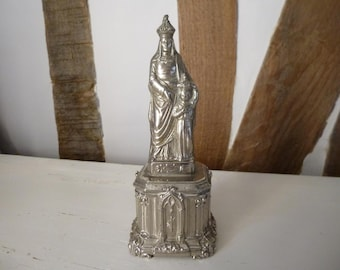 Saint Anne and Virgin Mary Child Statue Souvenir French Antique Piece Chrome / silver Finish