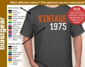 VINTAGE 1975 (or any year you'd like) 40th Birthday T-shirt — Any color/Any size - Adult S, M, L, XL, 2XL, 3XL, 4XL, 5XL