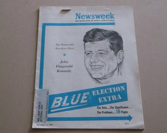 Vintage 1960 Newsweek, Blue Election Extra, John F. Kennedy