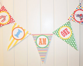 BIG TOP CIRCUS Highchair Banner I Am One - Party Packs Available