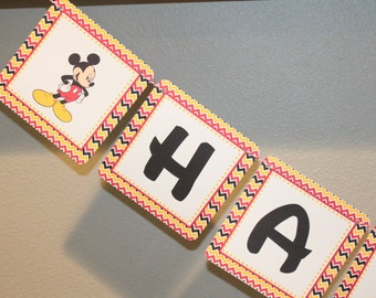 CHEVRON MICKEY Inspired Happy Birthday or Baby Shower Party Banner - Party Packs Available