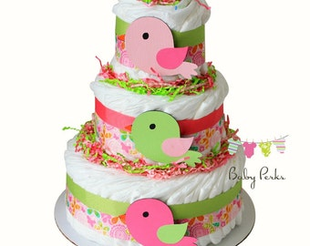 Bird Diaper Cake . Baby Girl baby Shower . Nesting Baby Shower, Baby Shower Decorations
