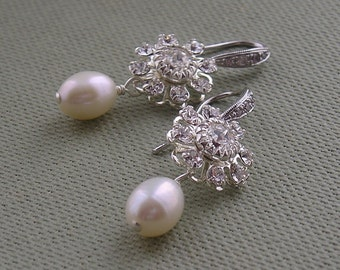 Brides Freshwater Pearl And CZ Sterling Silver Bridal Earrings, Vintage Style Wedding Earrings, Bridal Jewellery