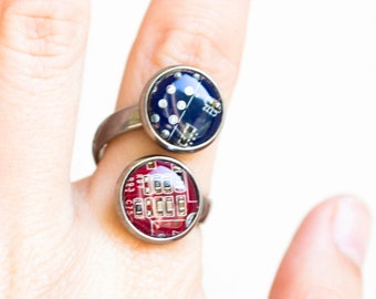 Geeky double ring - circuit board ring - statement ring