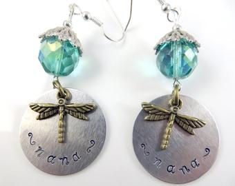 Hand stamped aqua - Nana - earrings