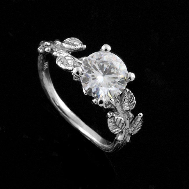 Nature Inspired Ring Leaf Engagement Ring 7mm Forever One