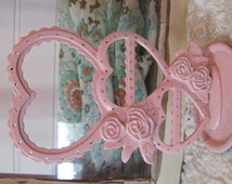 Vintage Pink Metal Hearts Earring Holder Girls Room Victorian Shabby Chic