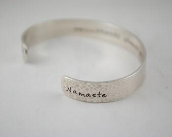 OM Shanti Shanti Shanti Namaste Yoga Custom Hand Stamped Cuff Bracelet. Secret Message