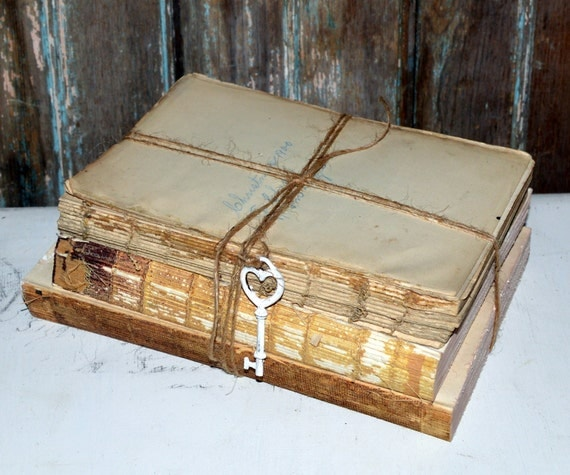 Rustic old book decor vintage unbound book cover less book for Antique books for decoration