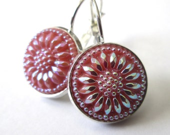 Vintage button earrings, Czech glass buttons, silver lever backs