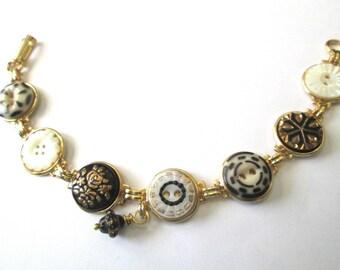 BLACK & WHITE antique button bracelet, 1800s buttons