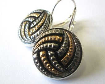 Volleyball antique button earrings, silver & gold glass buttons, silver leverbacks