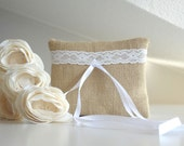 Bridal pillow, OOAK wedding pillow, Natural burlap ring pillow with lace decoration country wedding