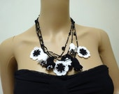 Crochet Flowers Oya Necklace,black and white