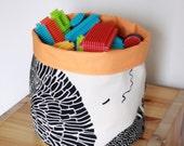Fabric basket ,Orange lining ,Storage Basket , Eco friendly ,Cotton ,Organizer Bin Basket ,Home Organization