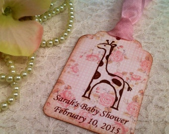 Giraffe Tags-Shabby Chic Baby Shower Favor Tag-Personalized Baby Girl Shower Tea Thank You Tag-Set of 12