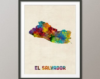 El Salvador Map Watercolor, Art Print (1766)