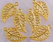 10 Gold Filigree Leaf Charms 18 x 10 mm - gc072