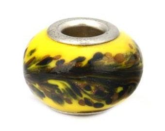 2 Yellow Murano Large Hole Bead Lampwork 15 x 8 mm - ec093
